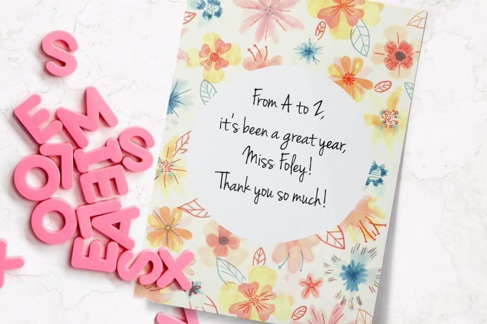 watercolor floral thank you card teacher appreciation