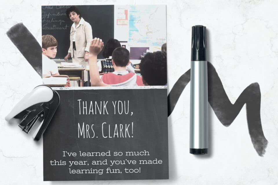 End of the year thank you to teachers appreciation card