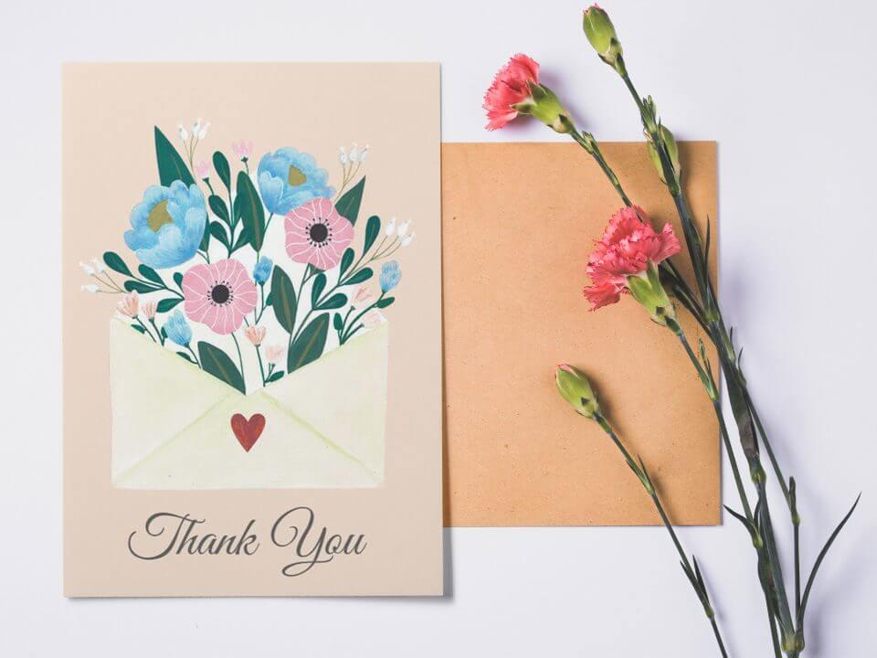 beige flower thank you card