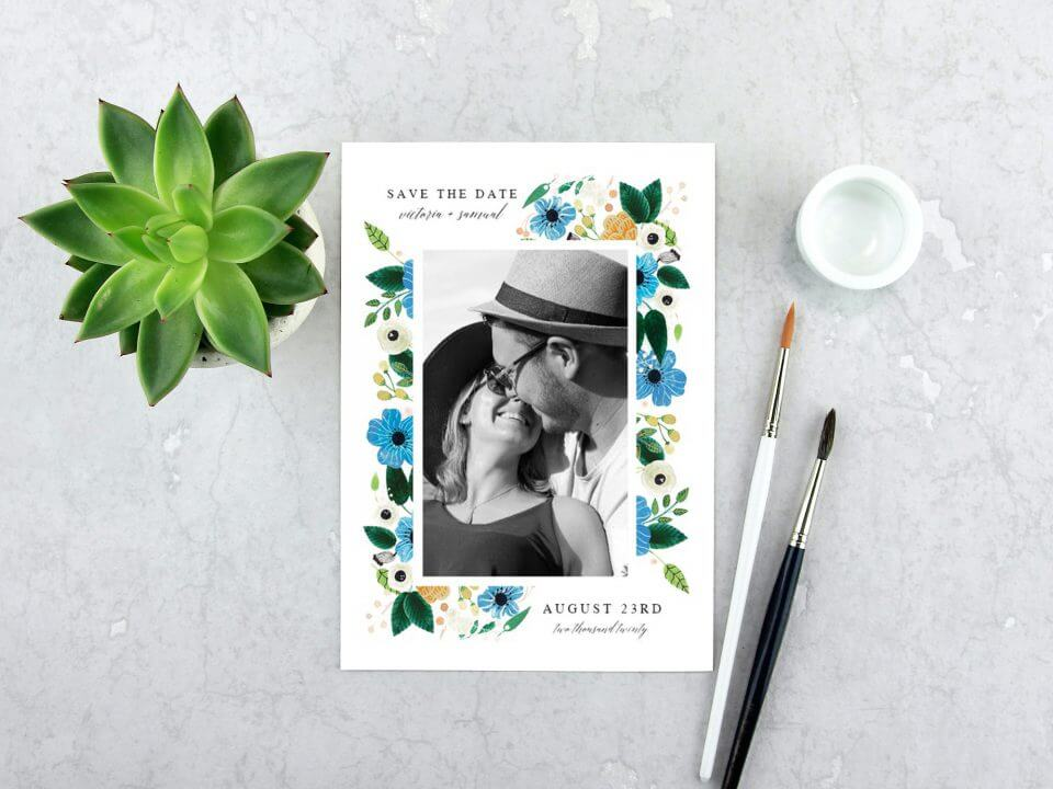 photo and flowers save the date card