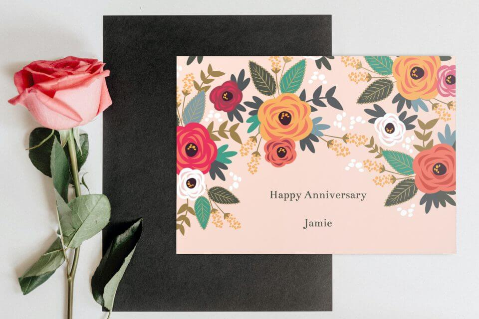 100+ Wishes for a Happy Anniversary flowers chalkboard love you floral card