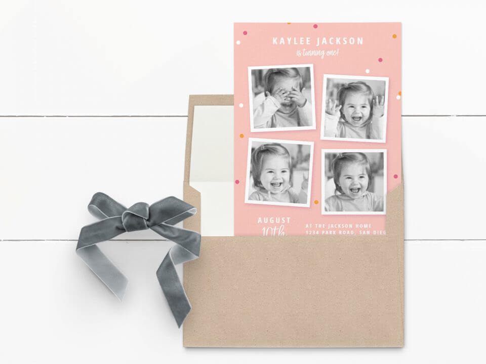Multi photo first birthday invitation
