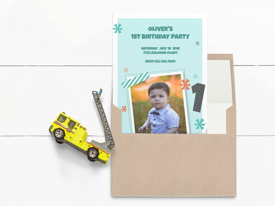 First birthday blue photo invitation
