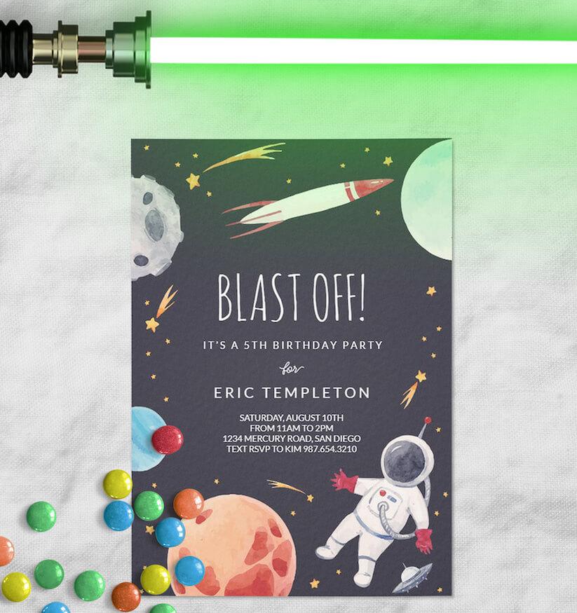 space themed boy birthday party invitation