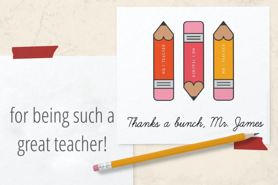 teacher appreciation pencil card