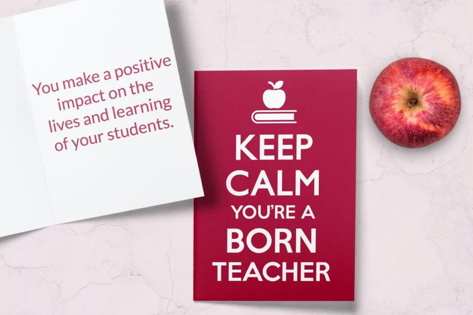 keep calm you're a born teacher thank you card