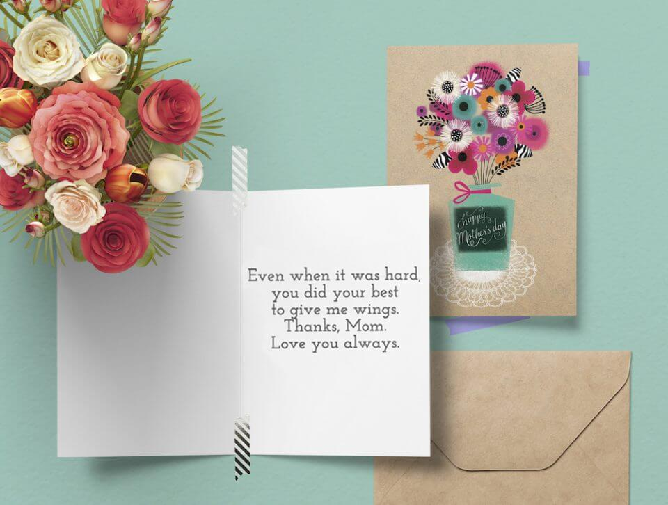 bouquet drawn flowers loving thoughts card