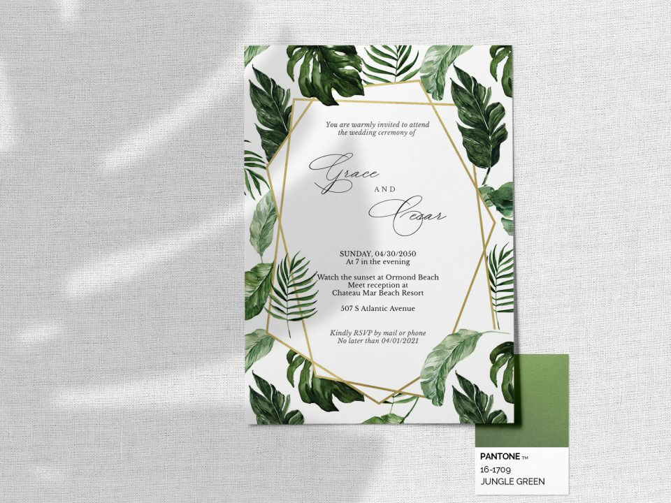 tropical leaves wedding invitation messages how to