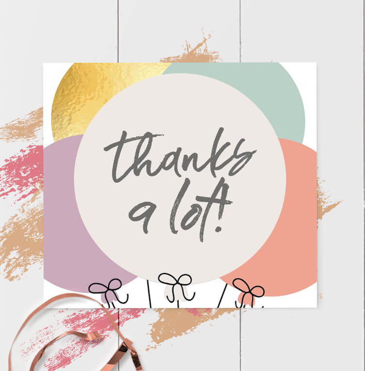 thank you birthday card messages balloons