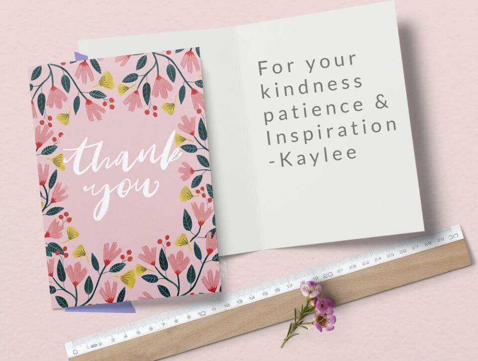 pink watercolor flowers thank you card for teachers educators