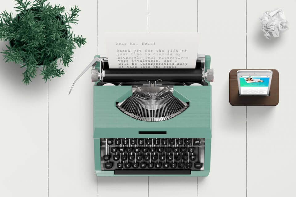 typewriter thank you card messages