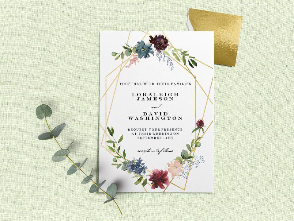 Geometric & Flowers - Wedding Invitation