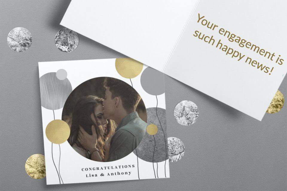 Surrealism balloons - Engagement Congratulations Card