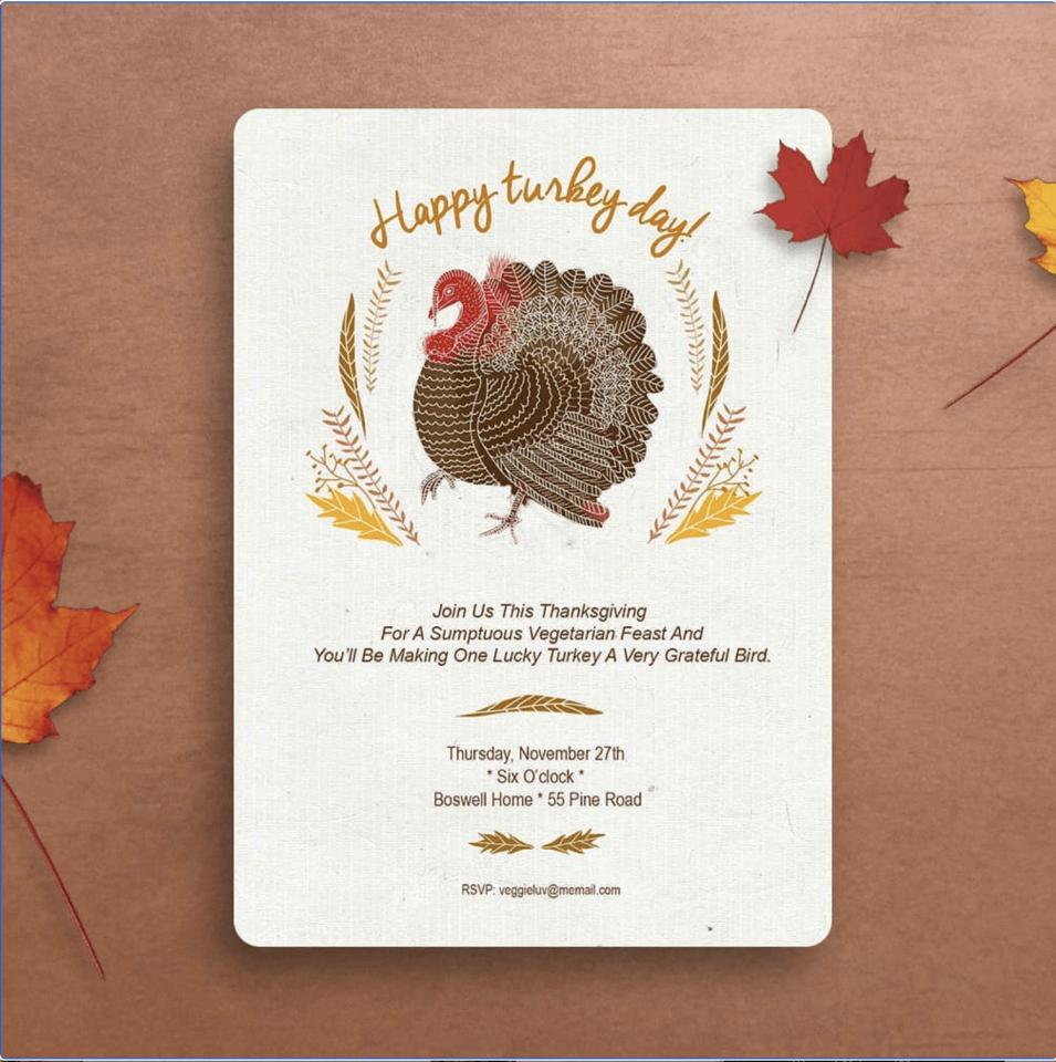 Thanksgiving celebration greeting island instagram turkey day invitation