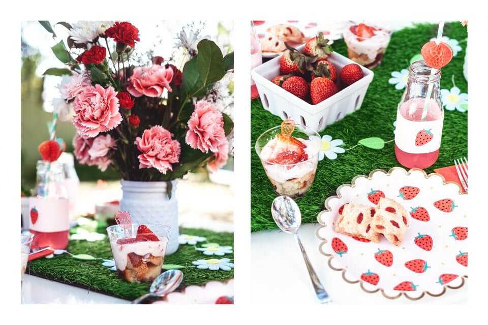 Strawberry day party table setting
