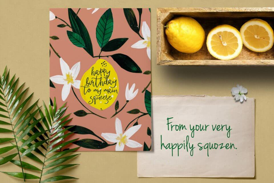 main squeeze birthday card for your husband watercolor hand drawn natural messages