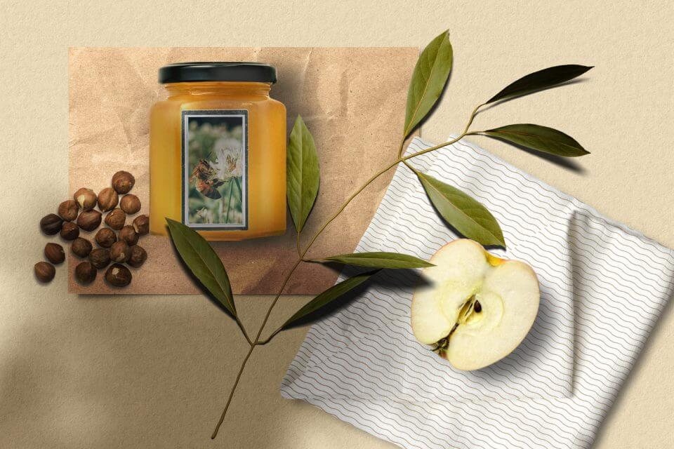 Honey and apple table setting