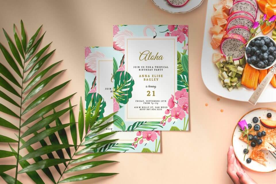 20 Unforgettable Summer Party Themes luha aloha card invitation tropical festival flamingo